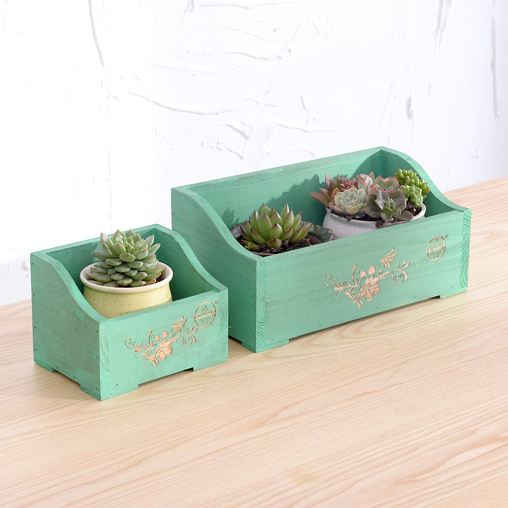LXLA- Windowsill Wooden Flower Stand Desk Mini Potted Plant Rack Office Desktop Display Shelf Succulents Suspension (Color : Green, Size : 15×12×12cm) by LXLA-Flower Stand (Image #3)