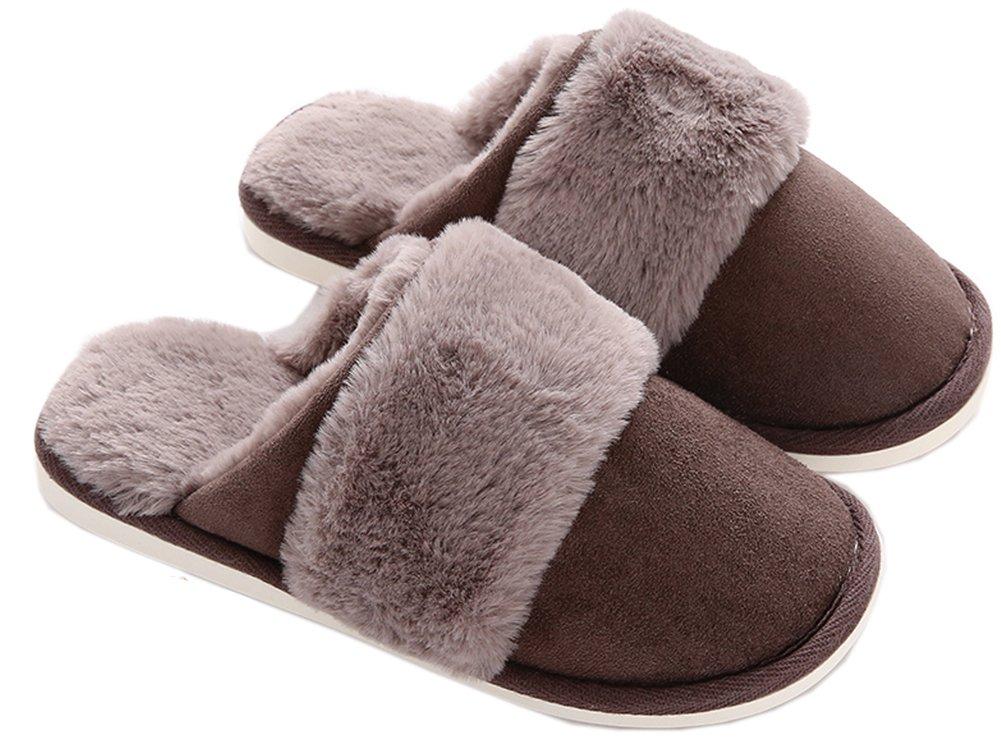 Asifn Indoor Men Home Slippers Women Cotton Memory Foam Cozy House Casual House Slide Massage Non-Slip Gray US7-7.5=UK6-6.5=EUR39-40