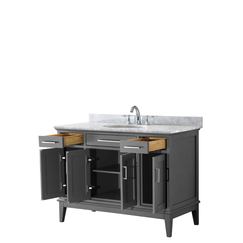 Undermount Square Sink and No Mirror White Carrara Marble Countertop Margate 60 Inch Single Bathroom Vanity in Dark Gray
