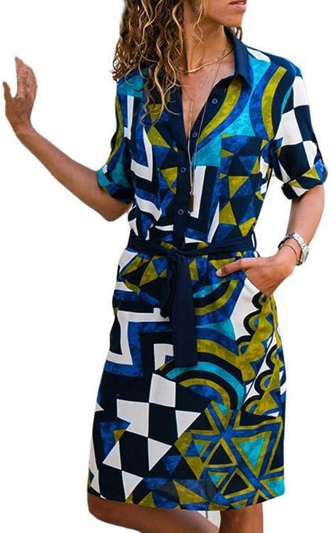 Vestidos Camisa Manga Larga Vestido En Gasa De Verano Vestidos Boho Playa Mujeres Rayas Casual Imprimir Una Línea Mini Vestido De Fiesta: Amazon.es: Deportes y aire libre