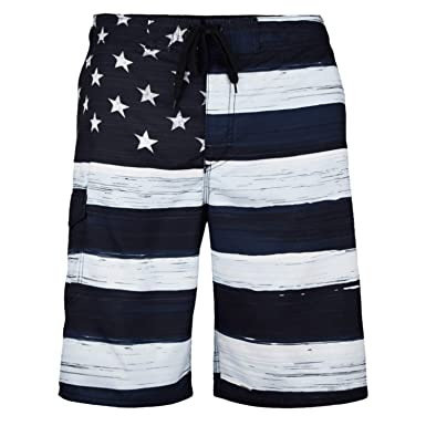 4f04ac9a3c US Apparel Men's American Flag Inspired Board Shorts, Black, 3X-Large  (40""