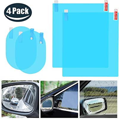 4PCS Car Rearview Mirror Film,Car Side View Mirror,HD Nano Film Anti Fog Glare Rainproof Waterproof Mirror Window Film,Clear Protective Film Sticker Drive Safely for Car Mirrors and Side Windows: Car Electronics [5Bkhe0806688]