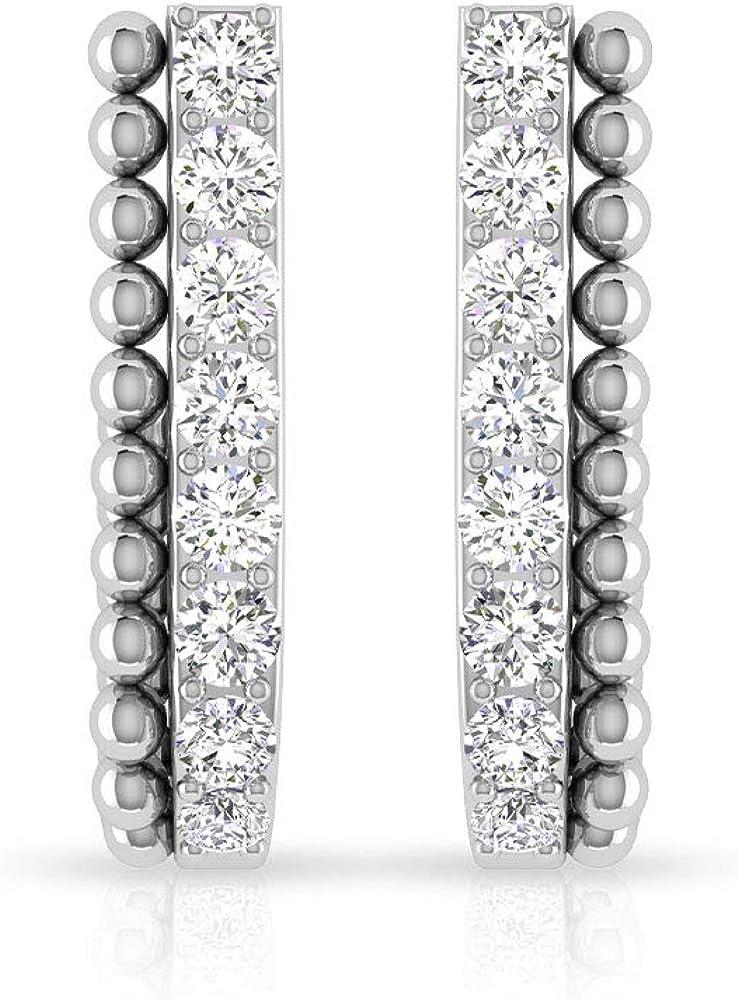 Aretes con forma de J de diamante certificado IGI de 0,22 ct, para mujer, oro de 14 k, medio aro, antiguo de doble capa, regalo para el día de la madre, tornillo hacia atrás