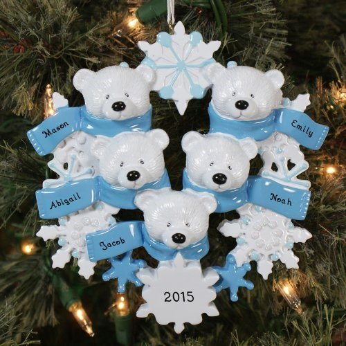 Polar Bear Wreath Family/5 Personalized Ornament