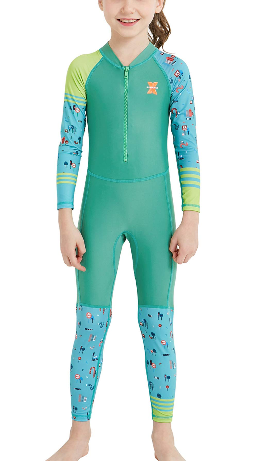 DIVE & SAIL Girls One Piece Rash Guard Long Sleeve Sun Protection Sunsuit Printed Swimwear UPF50+ UV Protection Diving Suit Green S