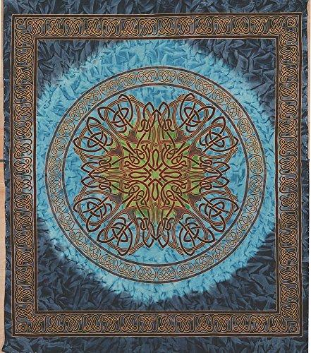 (Handmade Cotton Celtic Circle Wheel of Life Batik Tapestry Coverlet Full Blue)