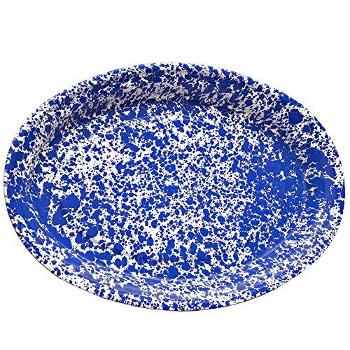 (Enamelware Oval Platter, 18 inch, Blue/White Splatter )