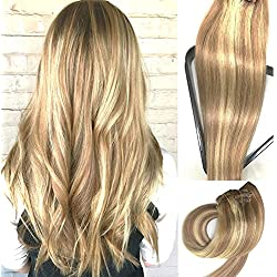 Myfashionhair Clip in Hair Extensions Real Human Hair Extensions 15 inches 70g Clip on for Fine Hair Full Head 7 pieces Silky Straight Weft Remy Hair (15 inches, #12-613)