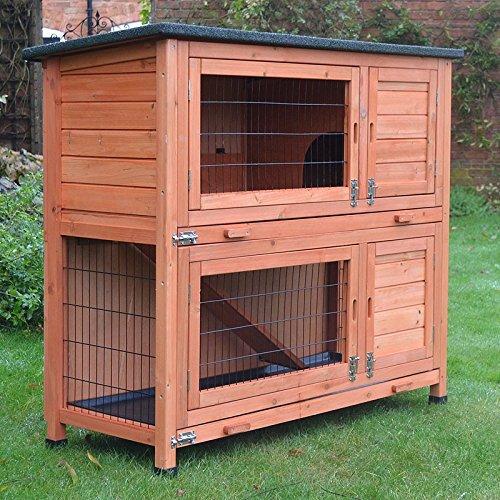 FeelGoodUK Kleintierstall über 2 Ebenen, geeignet für Kaninchen und Meerschweinchen, mit kostenlos Abdeckung und erhöhten Füßen, 1,2°m