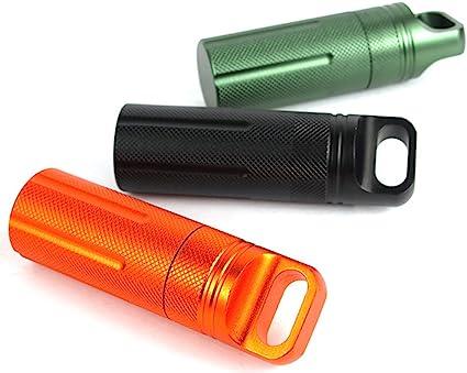 10 cm Kentop Mini Pilulier /étanche en Aluminium Mini Capsule de pilules pour Outils durgence de Chasse de Voyage Camping Alliage daluminium Orange