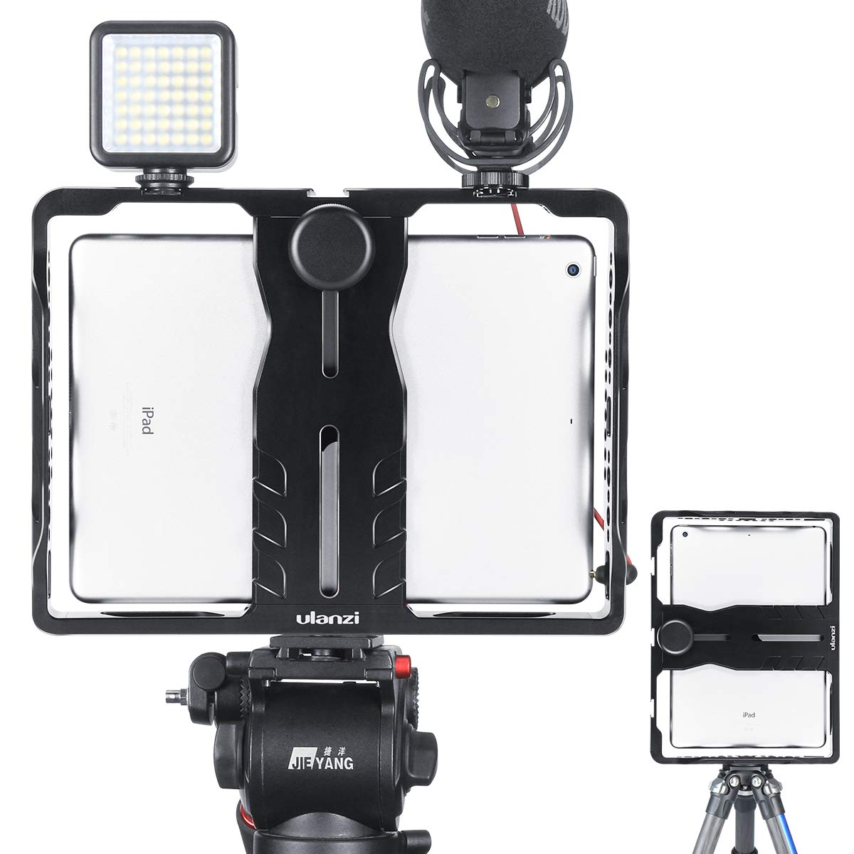 ULANZI U-Pad Metal Video Cage,Tablet Vlog Rig Stabilizer w 1/4 inch Screw Triple Cold Shoe Mount Compatible w iPad/iPad Pro/iPad Air/iPad Mini Tablets Vlogging Used On Microphone Video Light