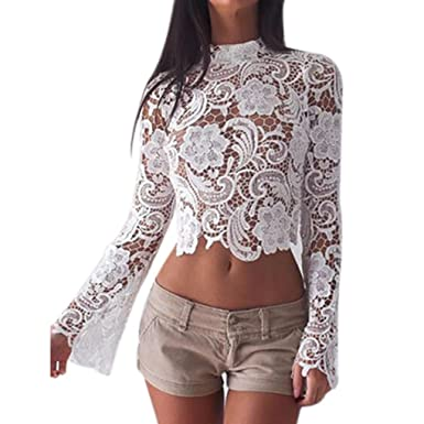 1bda30cbbbb Republe Women Sexy Flare Sleeve Lace Crochet Blouse Long Sleeve White Lace  Hollow Out Cropped Shirt Casual Club Crop Top: Amazon.co.uk: Clothing