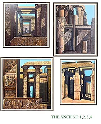"""Original Acrylic Painting """" Set Of Four Ancient Egypt """" Very Rare & Quality Hand Paints."""