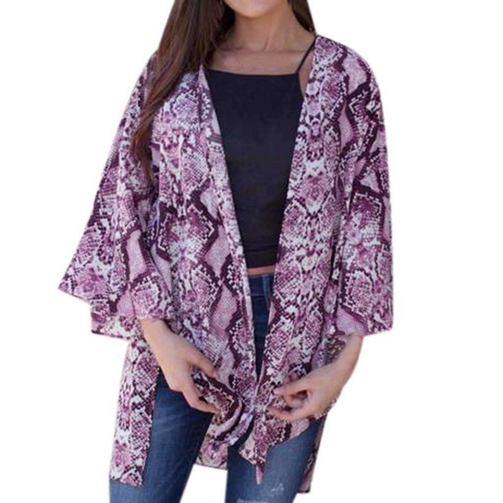 NUWFOR Fashion Womens Serpentine Printing Cardigan Smock Easy Blouse Tops(Purple,M US Bust:40.2'')
