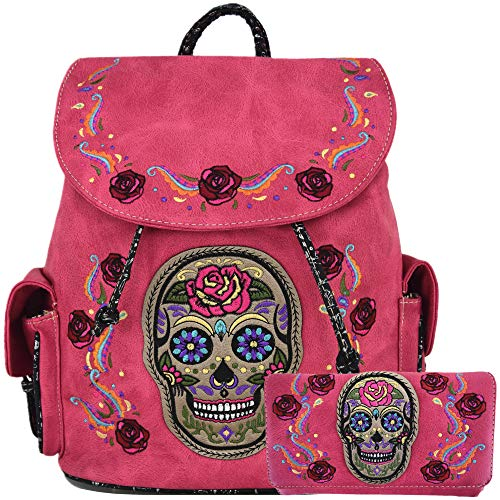 (Sugar Skull Day of the Dead Daypack Concealed Carry Backpack Fashion Women Travel Biker Purse Wallet Set (#1 Fuchsia Set))