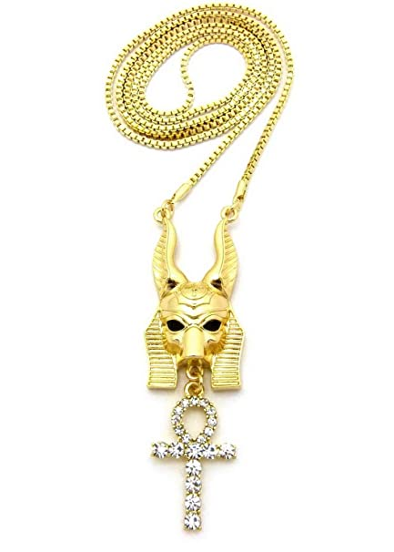 """NEW ICED OUT ANUBIS ANKH CROSS PENDANT /& 30/"""" BOX CHAIN HIP HOP NECKLACE RC2220"""