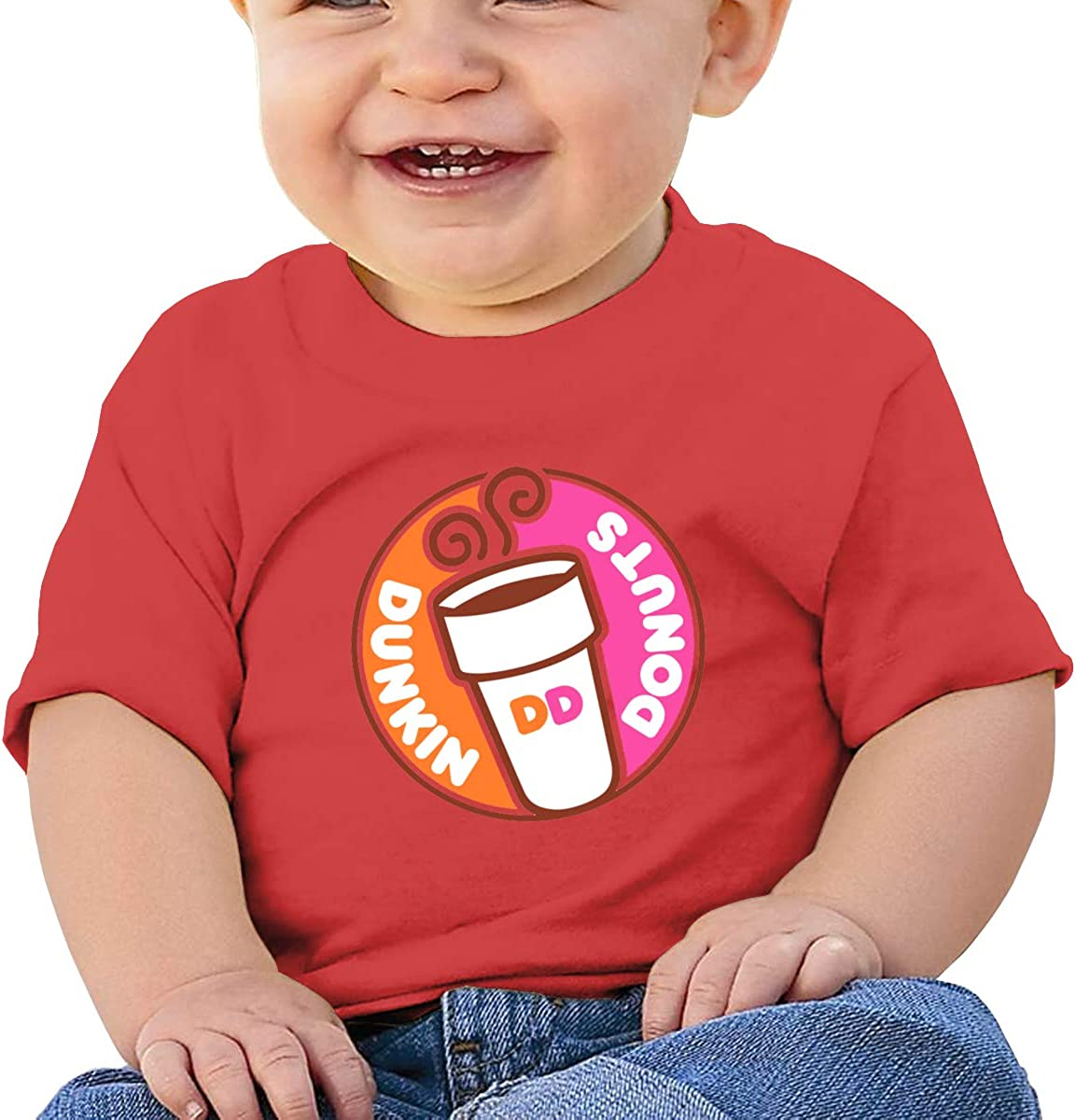 GanCheng Dunkin Logo Tee Soft Black T Shirts for Infant