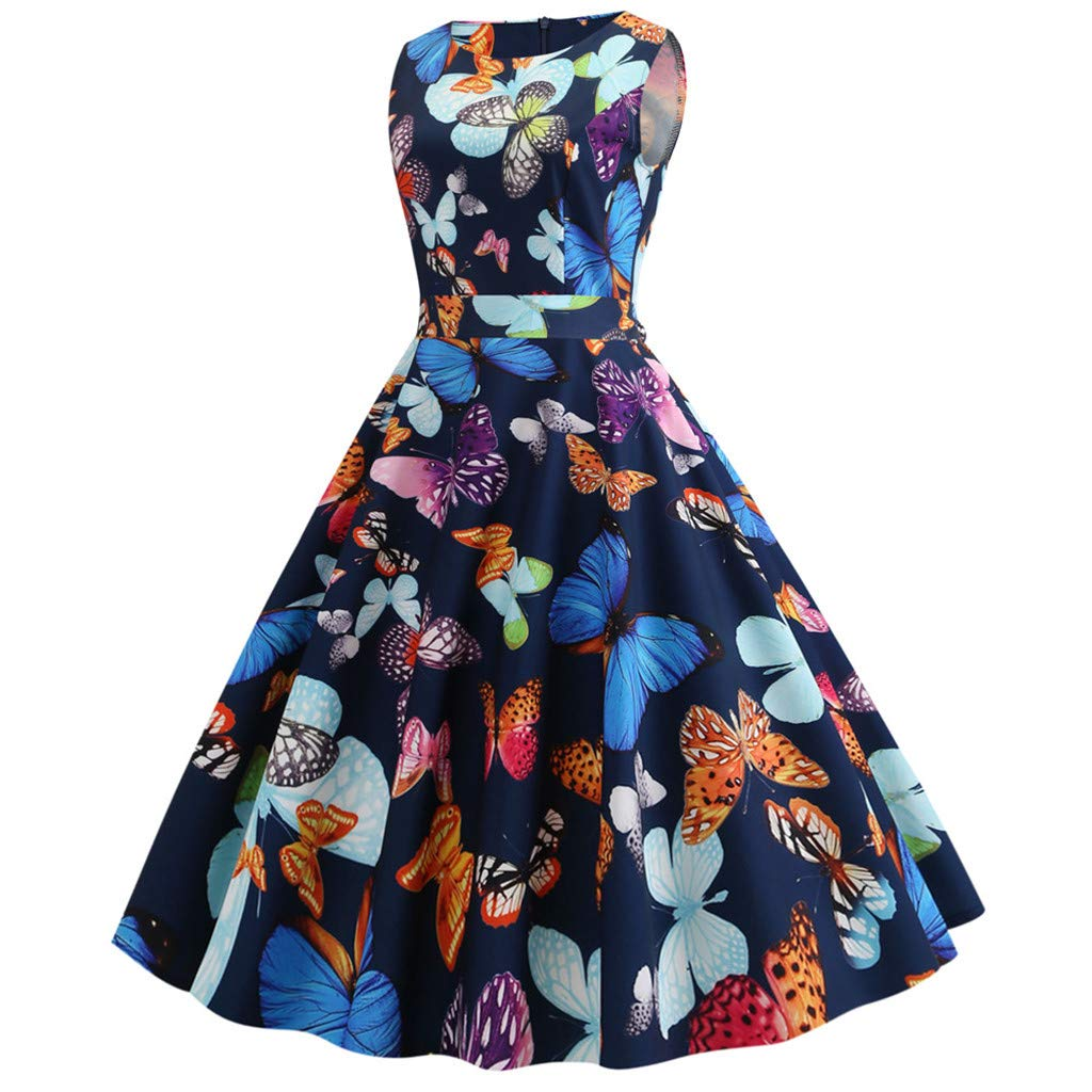Rose, Bleu Marine, Rouge, Blanc, Jaune, S-XXL ❀Robe de Femme❀ Robe Femme col Rond sans Manches imprim/é Jupe Longue Mini Jupe Robe de soir/ée r/étro