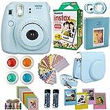 FujiFilm Instax Mini 8 Instant Film Camera Blue + Instax Mini Film Twin Pack (20 Sheets) + Blue PU leather Case + Frames + Photo Album + 4 Color Filters + Selfie Mirro And More Top Accessories Bundle