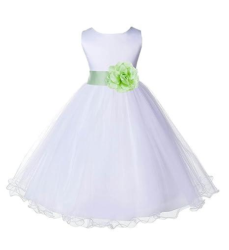 4f80acaec74 Amazon.com  Wedding Pageant White Flower Girl Rattail Edge Tulle Dress  829s  Clothing
