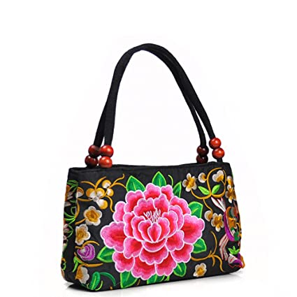 9bc3b87751 Tinksky Women's Vintage Shoulder Bag Embroidery Peony Flower Embroidered  Handbags with Wooden Beads