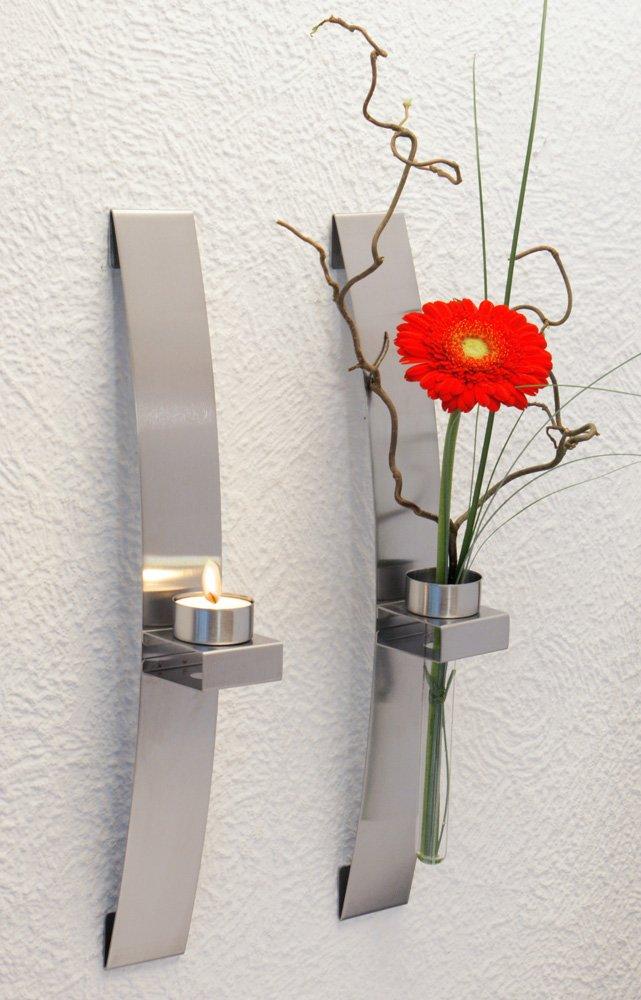 CHG 3342-00 Wall-Mounted Tea Light/Flower Holder 39.5 x 5 x 8 cm Pack of 2 KitchenCentre