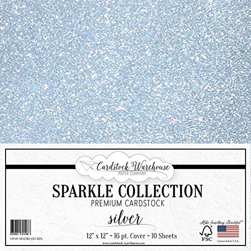 MirriSparkle Silver Glitter Cardstock Paper from Cardstock Warehouse 12