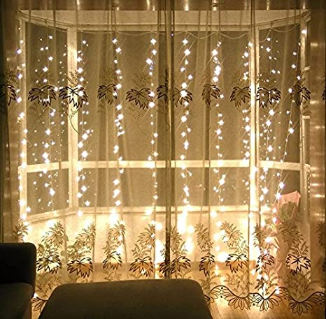 Amazon.com : Curtain Icicle Lights LED String 300 Lights - 9.8 ft x ...