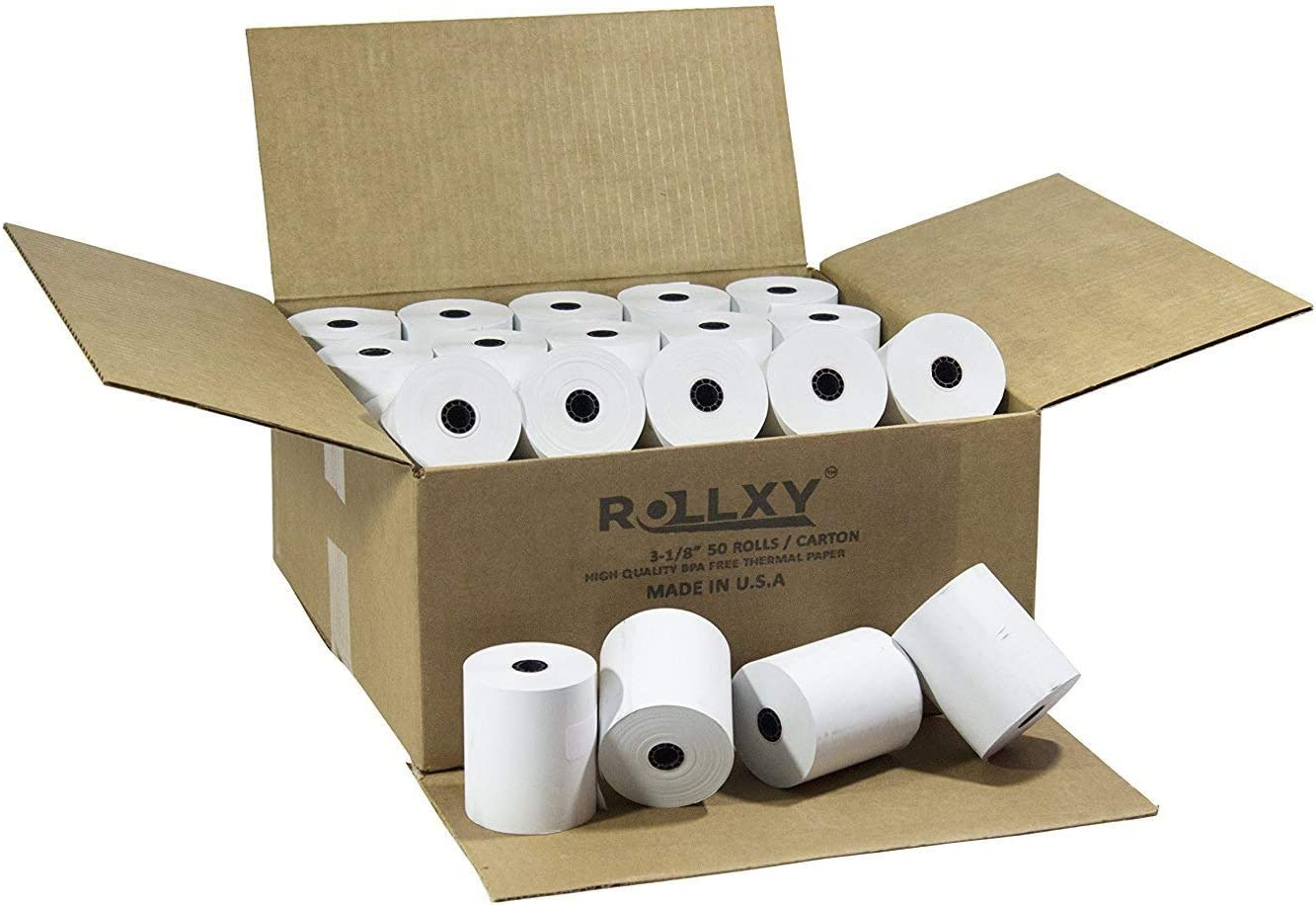 thermal paper roll 3 1 8 x 230 25 rolls TM-T88 T-20 T-90 Bixolon SRP-350 370 BPA Free Made in USA From RegisterRoll