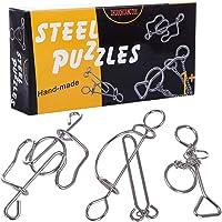 AMITAS 3 Stück Knobelspiele Set Metall knobelspiel 3D Puzzle Geduldsspiel Knobel Set Lehrreiches Spielzeug als Adventskalender Geburtstag Weihnachten für Erwachsene Kinder