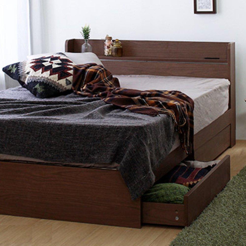 [ダブル] ウォールナット 収納ベッド 【フレームのみ マットレス無し】 棚2口コンセント付き B07DHJN2V5