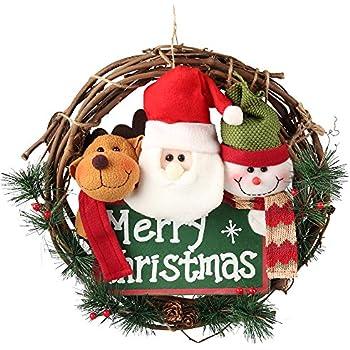 D-FantiX 14 inch Merry Christmas Wreaths for Front Door, Small Grapevine Wreath Indoor Winter Holiday Wreaths Front Door Christmas Decoration (Reindeer Snowman Santa Claus)