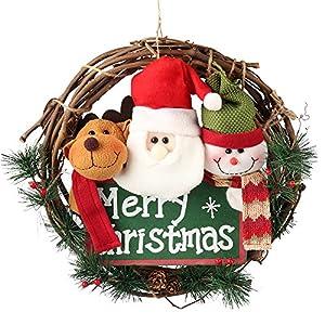 D-FantiX 14 inch Merry Christmas Wreath Decor, Small Grapevine Wreath Front Door Wreaths (Reindeer Snowman Santa Claus) 84