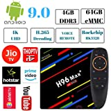 PHANTIO H96 MAX+ 4K Smart TV Box - Jio TV Hotstar Android 9.0 Bluetooth HDMI2.1 Rockchip RK3328 Quad-core CPU Penta-core Mali-450MP GPU (4GB / 64GB with Voice Remote)