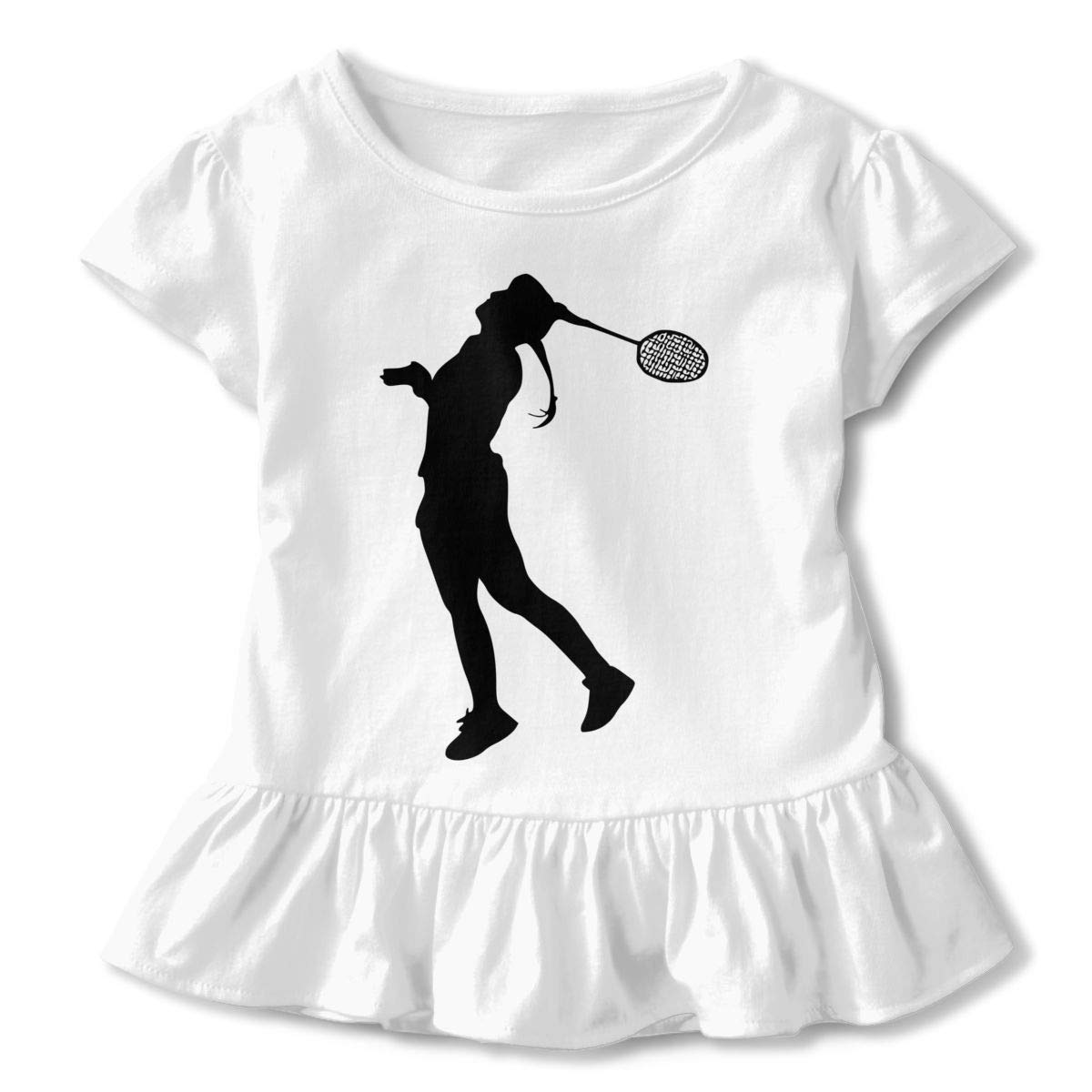 Badminton Silhouette Shirt Printed Toddler Girls Flounced T Shirts Clothes for 2-6T Baby Girls