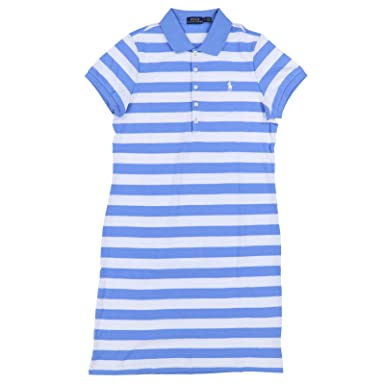 ef08043ec6455 Image Unavailable. Image not available for. Color: Ralph Lauren Womens  Interlock Polo Dress (Small, Pale Blue Stripes)