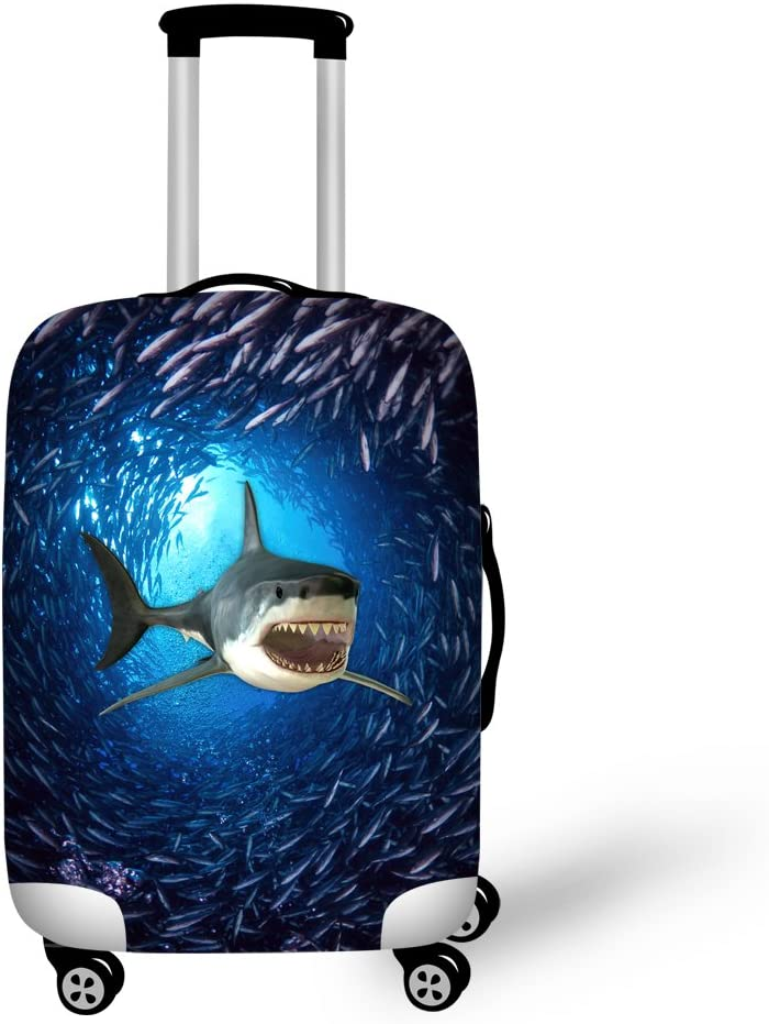 HUGSIDEA Fashion Shark Pattern Luggage Protective Covers for 22-26 Inch Suitcase