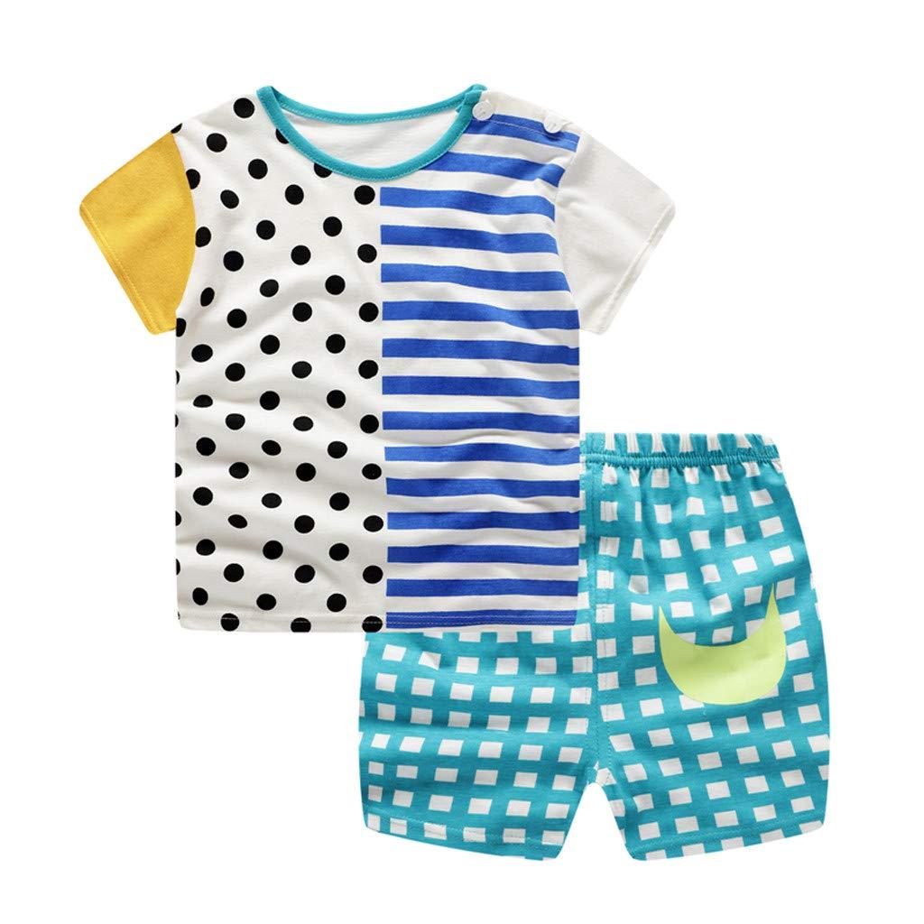 Lavany 2pc Baby Outfits Boys Girl Clothes Set Stripe Short Sleeve T Shirt+Dots Pants Blue
