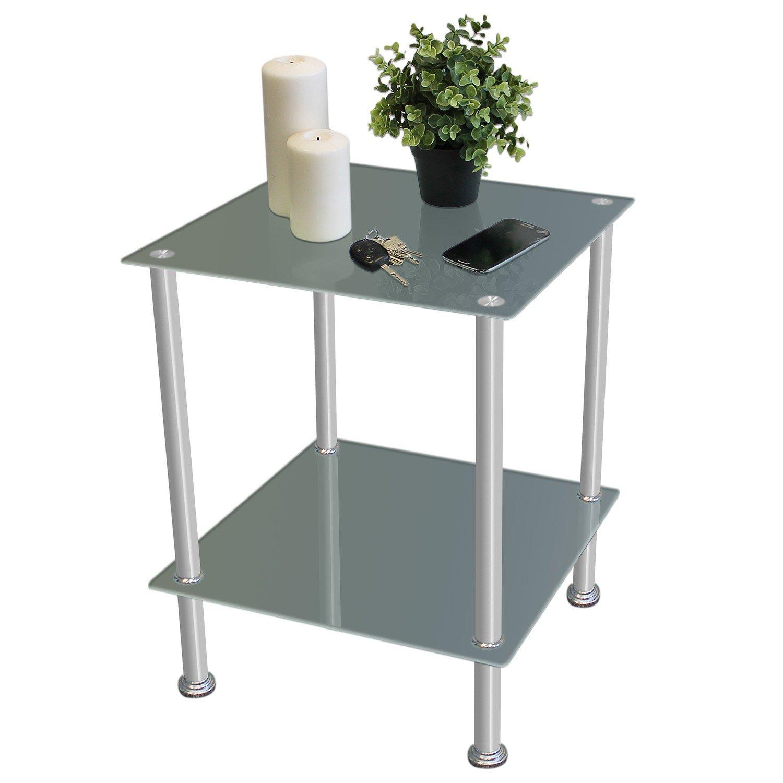 Tavolino in vetro temperato e acciaio quadrato da salotto camera da letto 40x40x50 cm doppio ripiano nero B43 Home Style