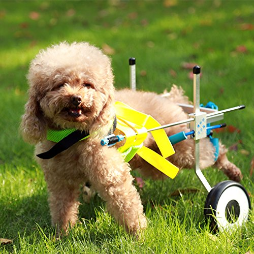 New! Two Wheels Adjustable Dog Wheelchair, cart, 7 Sizes for hind Legs Rehabilitation, 3D Soft Harness,Light Weight, Easy Assemble, Belly Band Specially for Spondylitis (1.New-XXS)