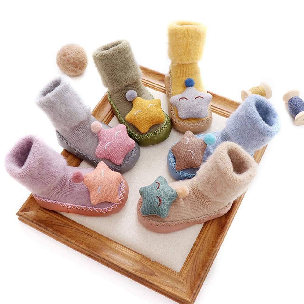 Dicke Warme Und Rutschfeste Stern Puppe Muster Mit Glocke F/ür Kleinkind Die Sohle ist ca. 12 cm lang Wovemster Baby Boden Socken