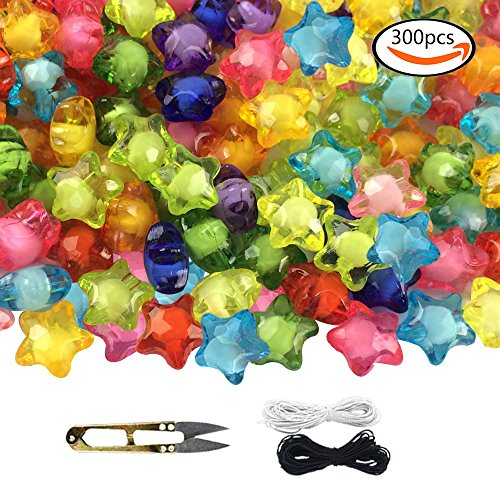 Colorful Acrylic Beads - WXBOOM 300pcs 12mm Assorted Colorful Acrylic Beads in Beads Translucent Star Beads with 1 Pair of Scissors, 1 Black and 1 White Cord for Kids DIY and Jewelry Accessory