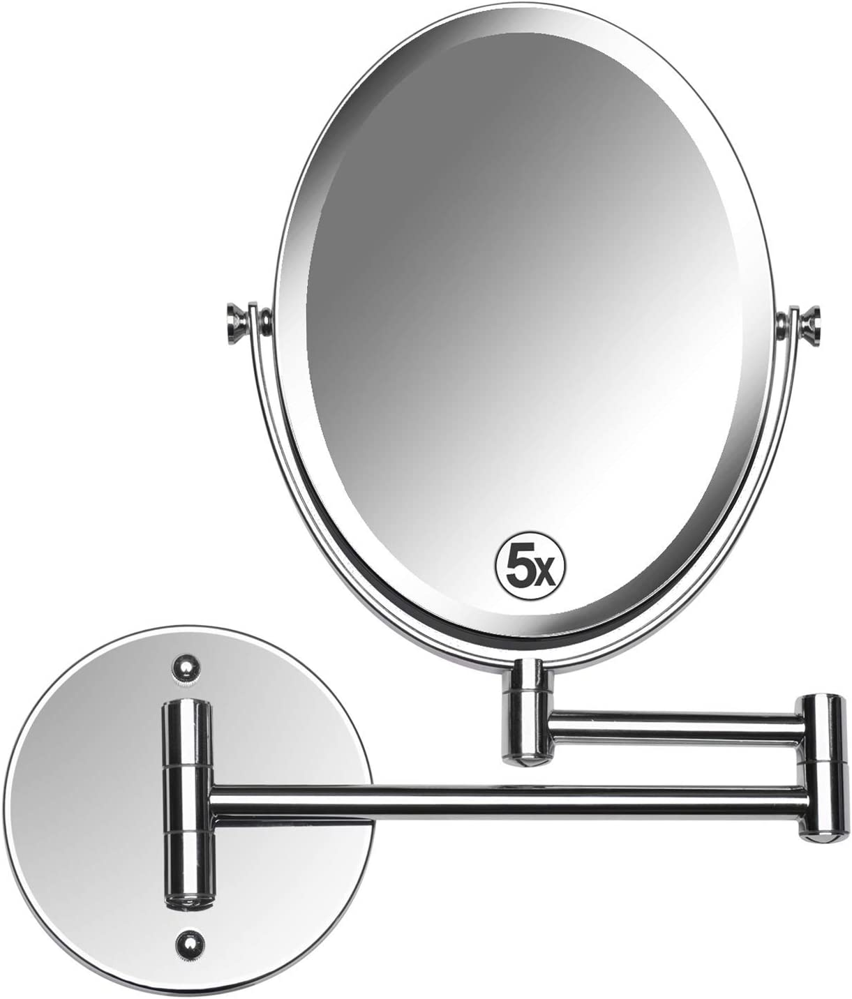 Mirrorvana Oval Wall Mount Bathroom Makeup Mirror, Double Sided 5X 1x Magnifying, 13-Inch Extension Swivel, 6.6 x 8.6 Reflection, Chrome