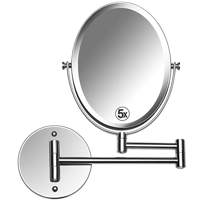 Mirrorvana Oval Wall Mount Bathroom Makeup Mirror, Double Sided 5X & 1x Magnifying, 13-Inch Extension Swivel, 6.6