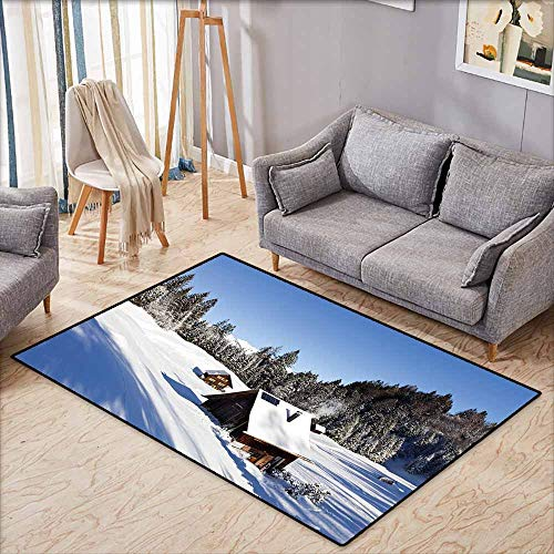 - Non-Slip Rug,Winter Log Cabins in The Mountains Sunny Winter Day Rural Scene Holiday Vacation,Extra Large Rug,3'3