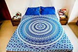 Mandala Tapestry Bedding with Pillow Covers, Indian Bohemian Hippie Tapestry Wall Hanging, Hippy Blanket or Beach Throw, Ombre Mandala Bedspread for Bedroom, Queen Size Intricate Blue Boho Decor