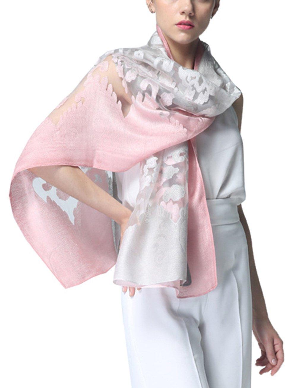 Bestfort Echarpe Foulard Femme Ajouré Couleur de Dégradé Anti uv Coloré En Soie  Coton Laine Grand 183450b21da