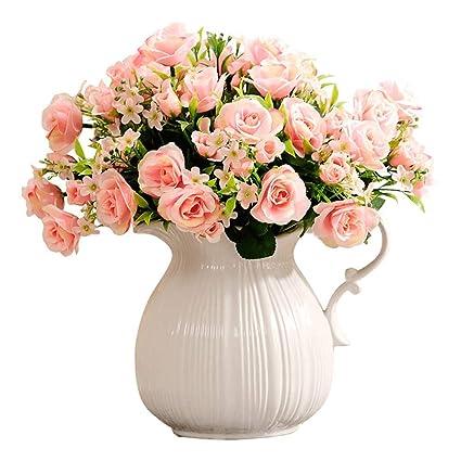 Janron Flores Artificialescon Florerorosa Decoración
