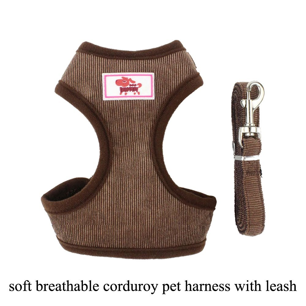 Brown XS Brown XS FOREKING All Weather Pet Harness for Small Pets Midium Pets,Soft Breathable Harness for Cats and Dogs,Easy to Wash,Adjustable Size,Durable Fastener&Buckle (XS, Brown)