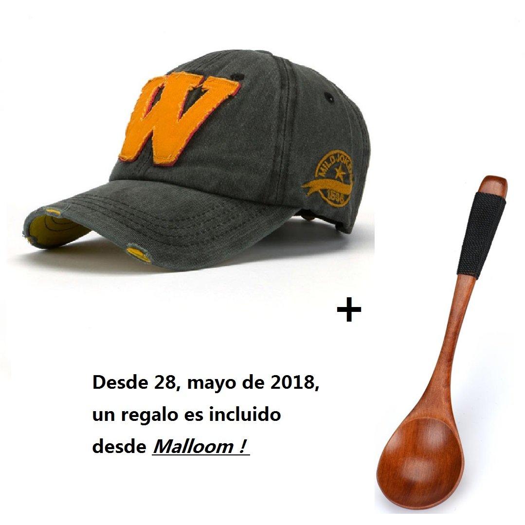 Malloom SnapBack sombreros Unisex verano letra W Hockey béisbol Gorras Hip Hop gorros (negro)